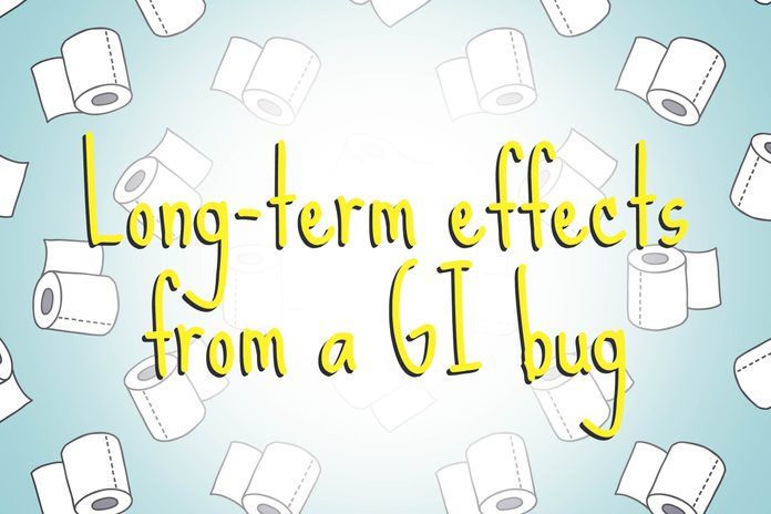 illustration of toilet paper rolls with words long-term effects from a GI bug