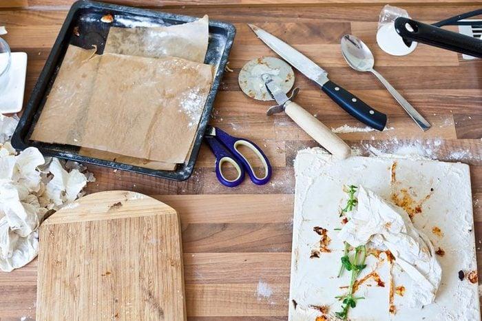 messy food on cutting board