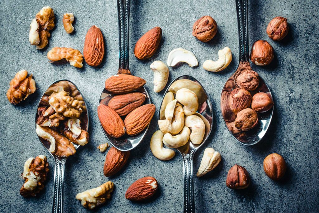 spoonfuls of cashews, almonds, walnuts