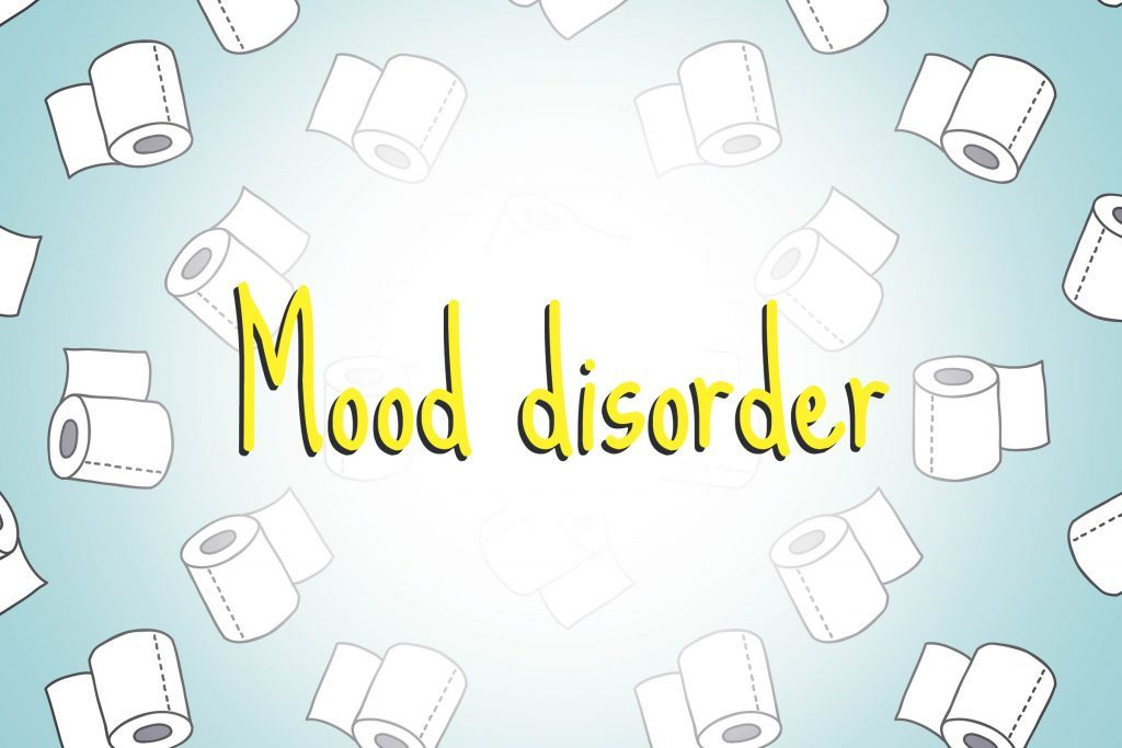 illustration of toilet paper rolls with words mood disorder