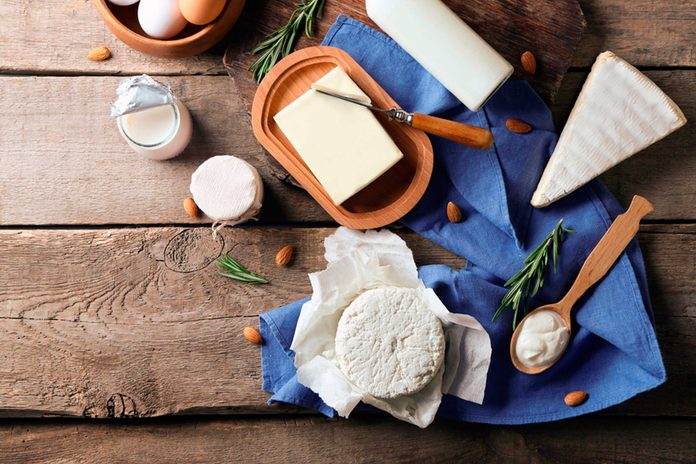 cheese and dairy on table