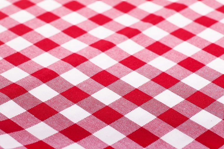 red-checked tablecloth