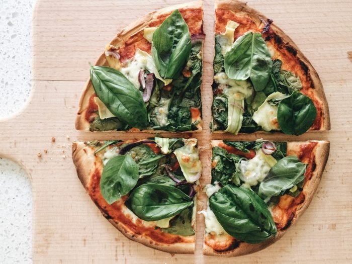 overhead shot of veggie pizza