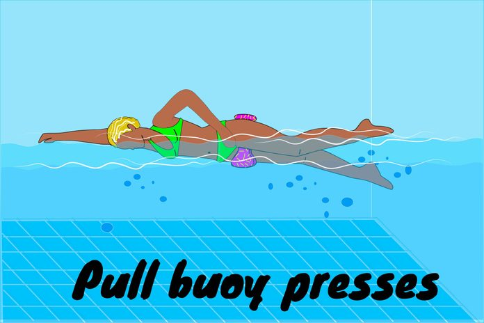 Graphic of woman doing pull buoy presses in a pool.
