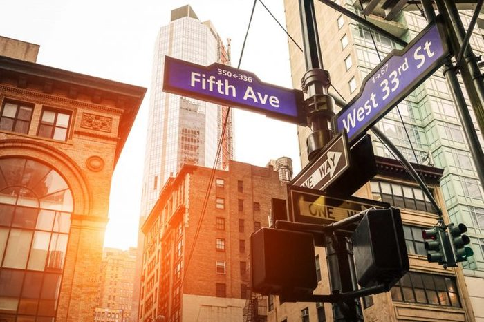 NYC street sign, 5th avenue and west 33rd street