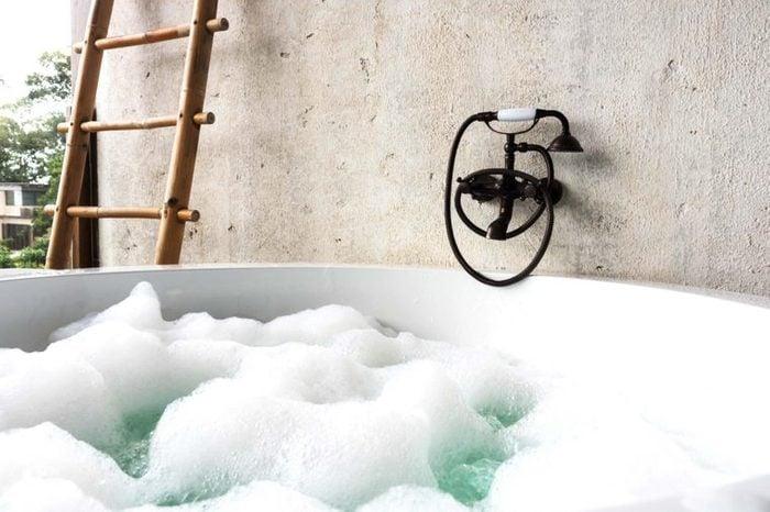 bubble bath in outdoor tub