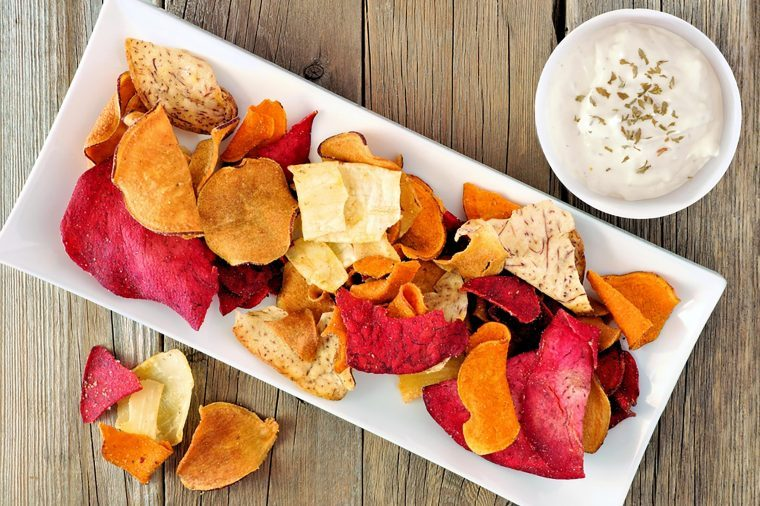 Veggie chips with yogurt dip.