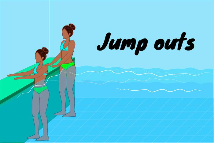 Graphic of woman doing jump outs in a pool.