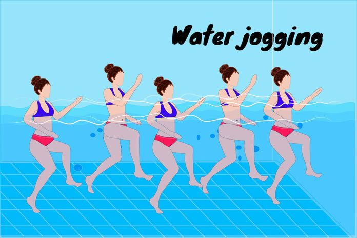 Graphic of women water jogging in a pool.