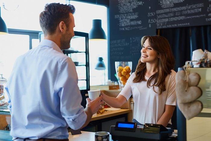 barista and customer