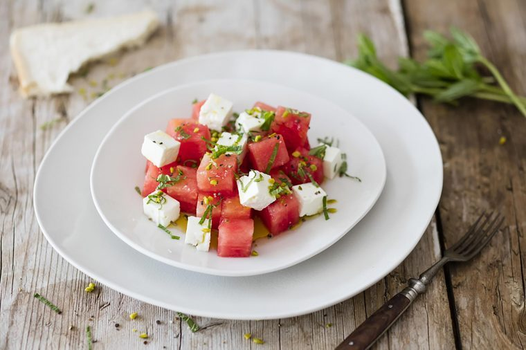 Dish of watermelon and feta cheese.
