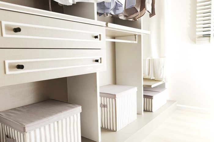 Orderly room with boxes for storage