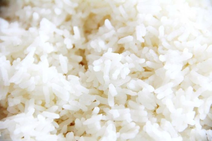 Close up of white rice
