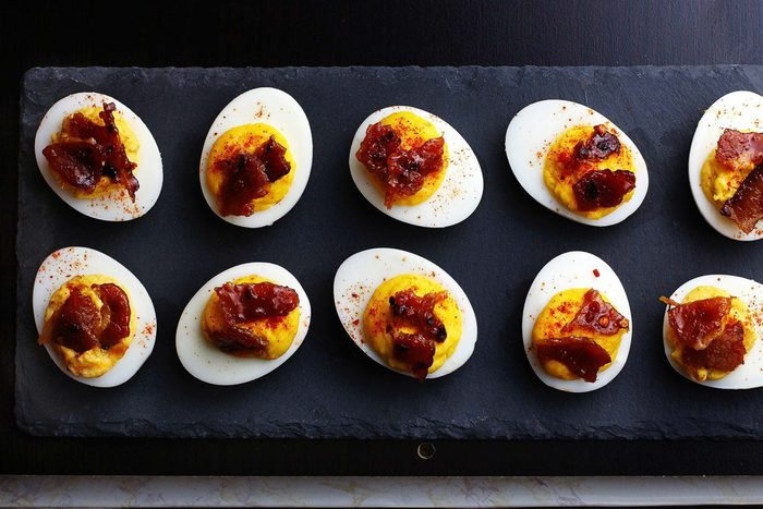 Sriracha-Deviled-Eggs-with-Candied-Bacon