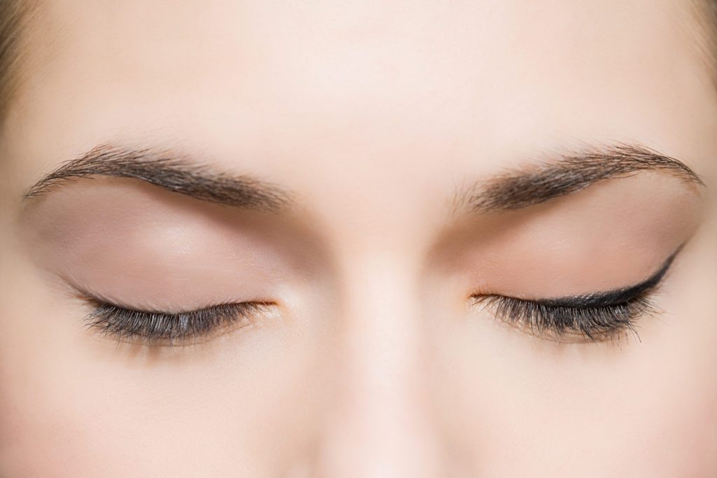 close up of woman's eyes and eyebrows
