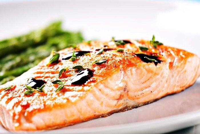 Roasted salmon.