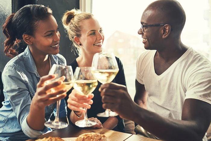 three friends drinking