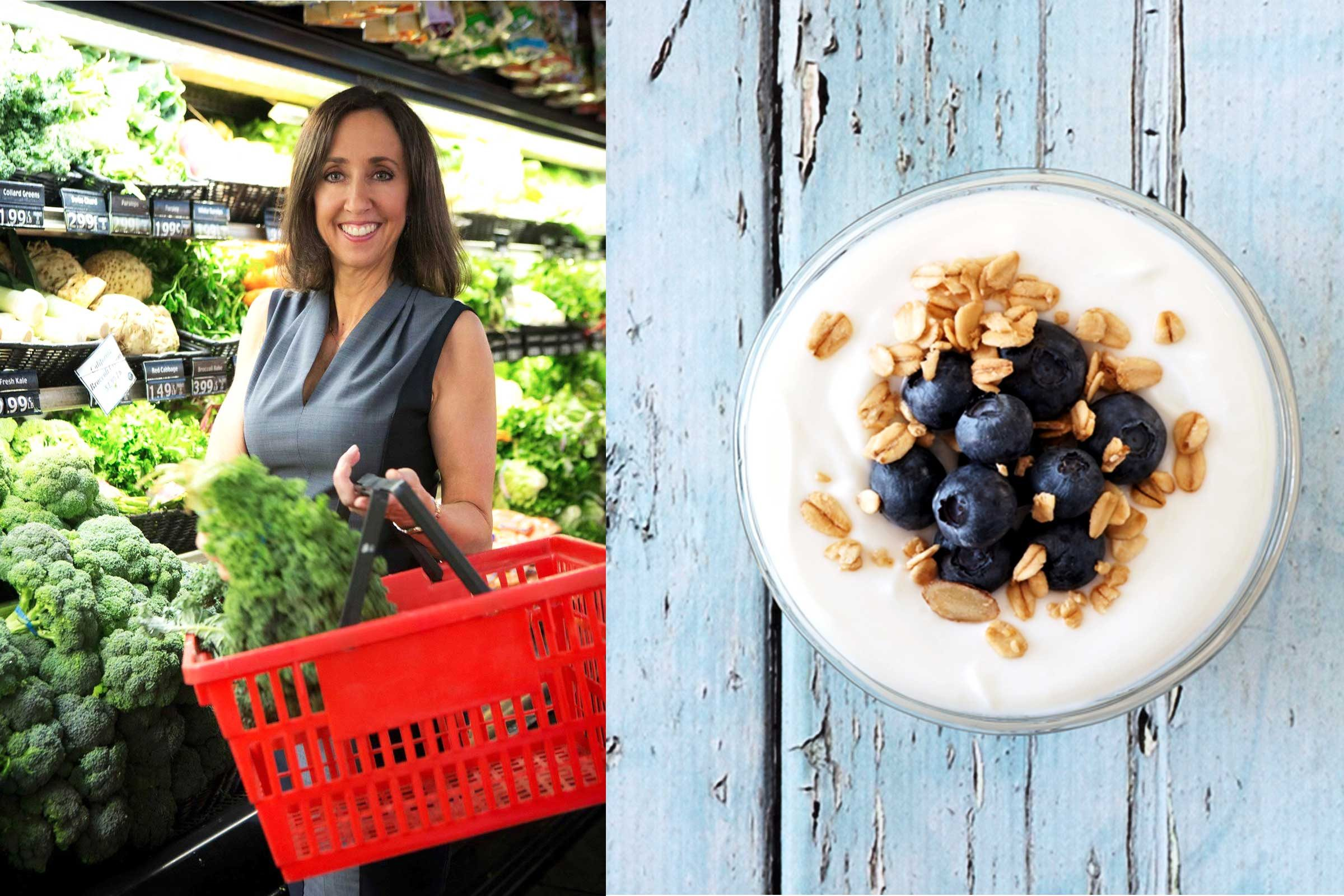 Martha McKittrick and a bowl of yogurt with granola and blueberries