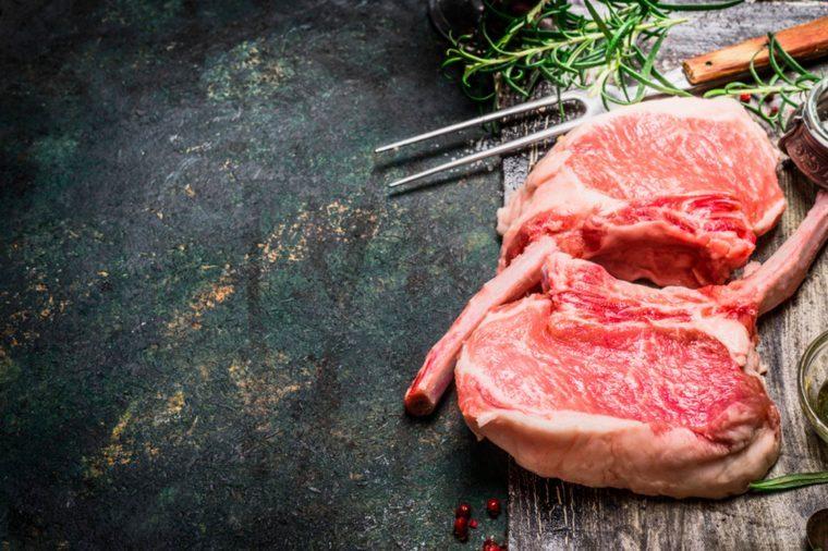 Raw steak on the bone.