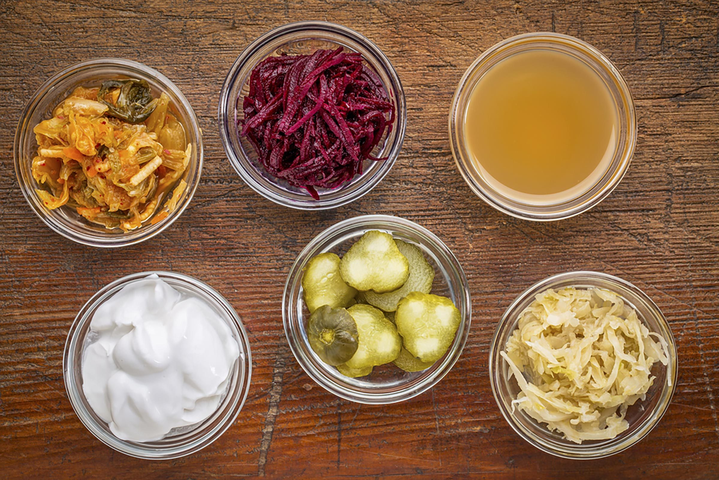 bowls of fermented vegetables