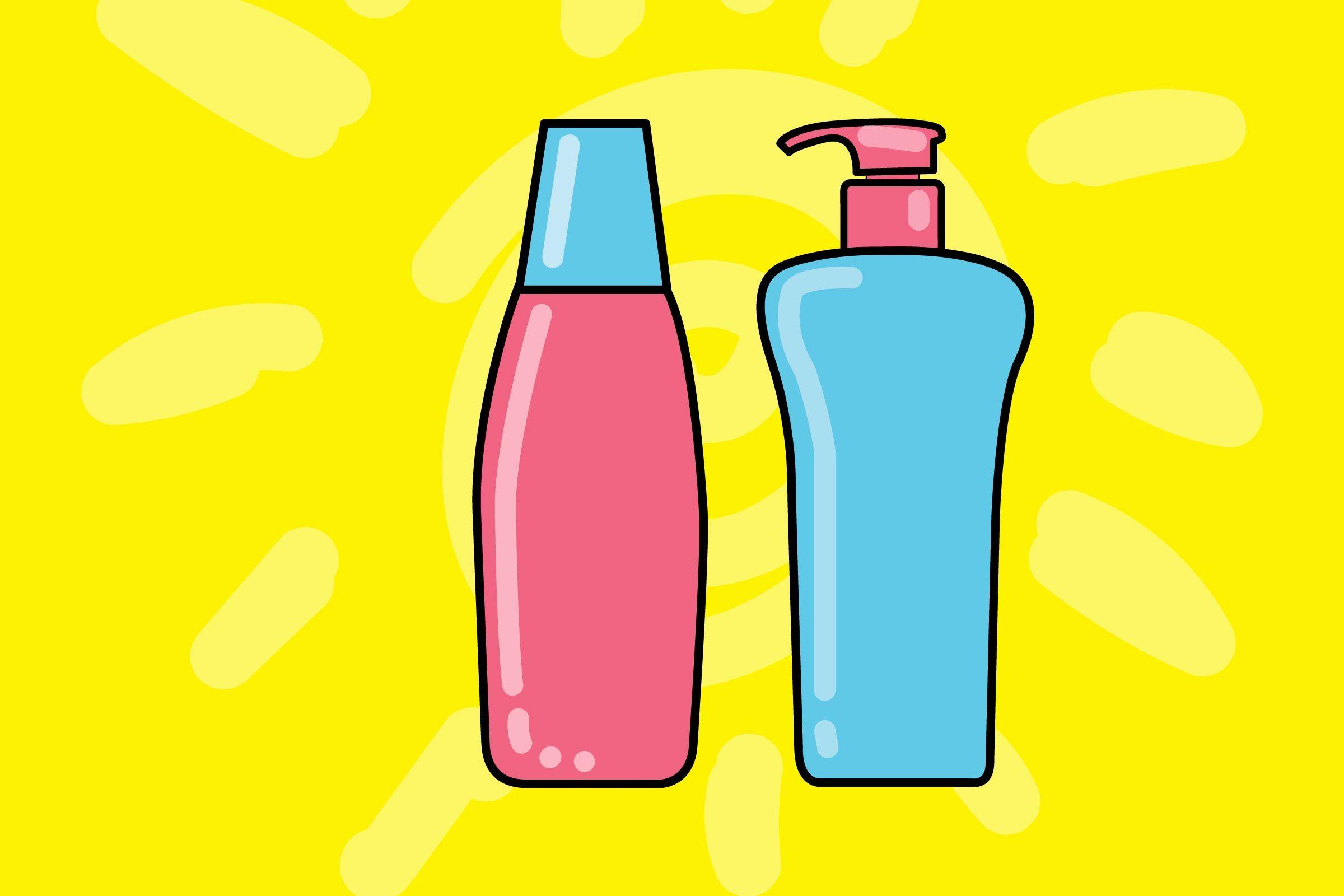 illustration of two hair care bottles