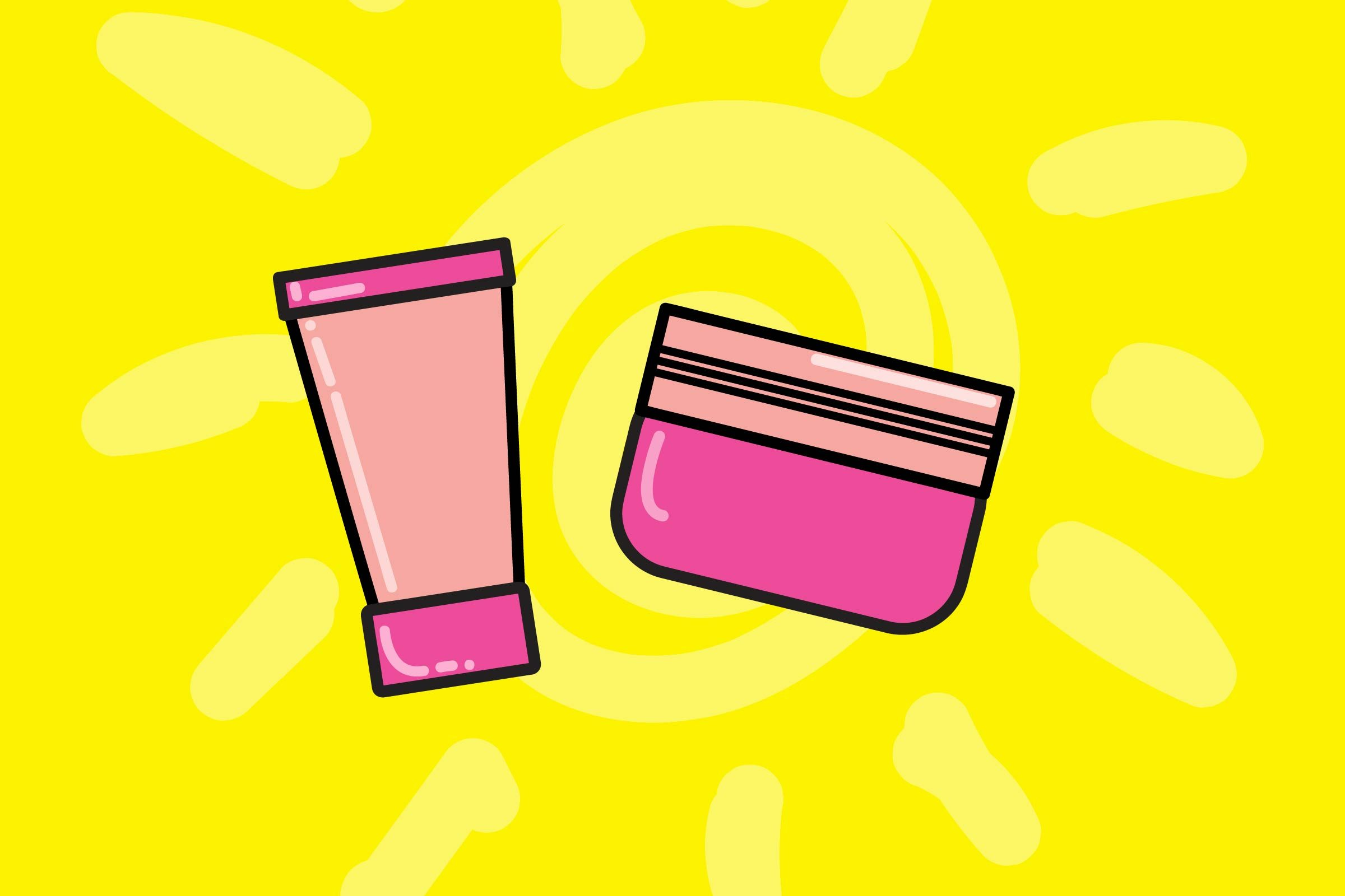 illustration of beauty products