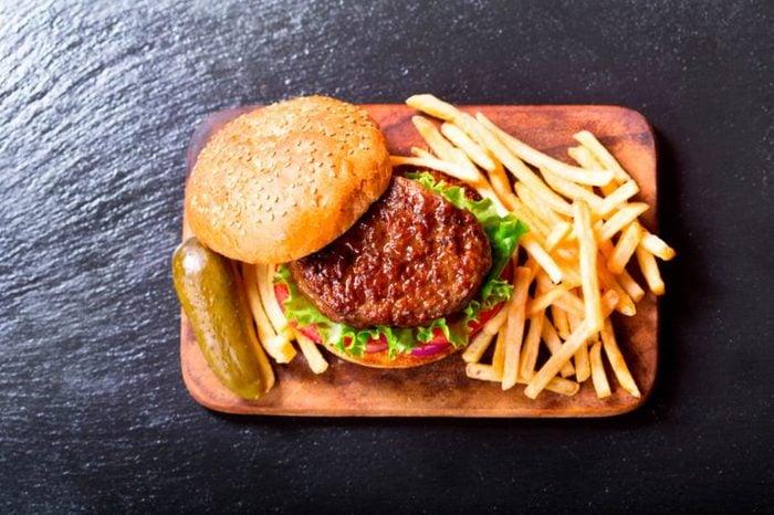Fast-food burger meal.