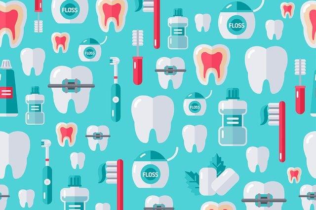 teeth, floss, toothbrush illustration