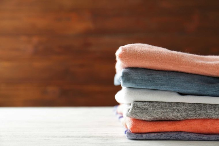 Stack of folded t-shirts.