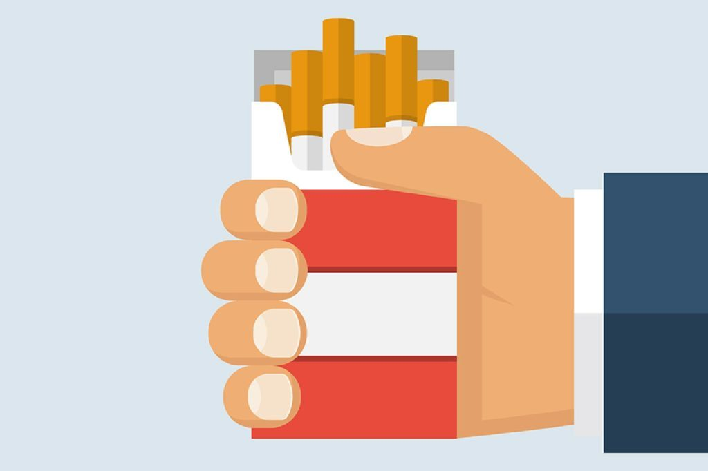 illustration of hand holding pack of cigarettes
