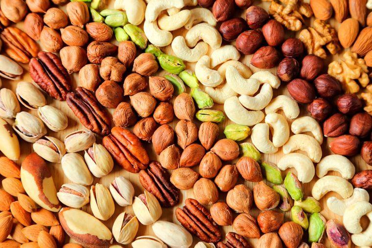 rows of nut varieties