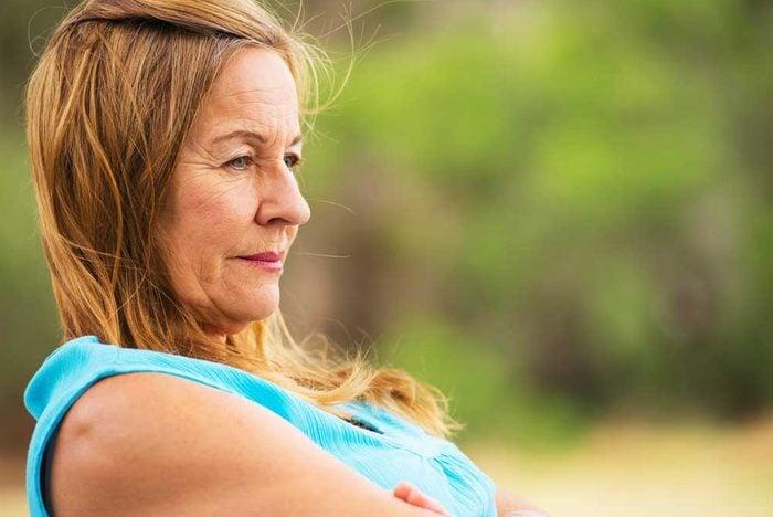 Contemplative older woman