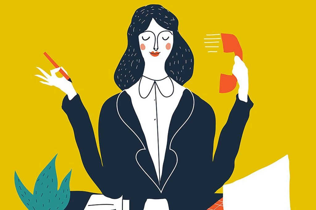 illustration of woman at desk holding a phone