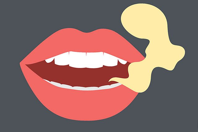 illustration of mouth and bad breath