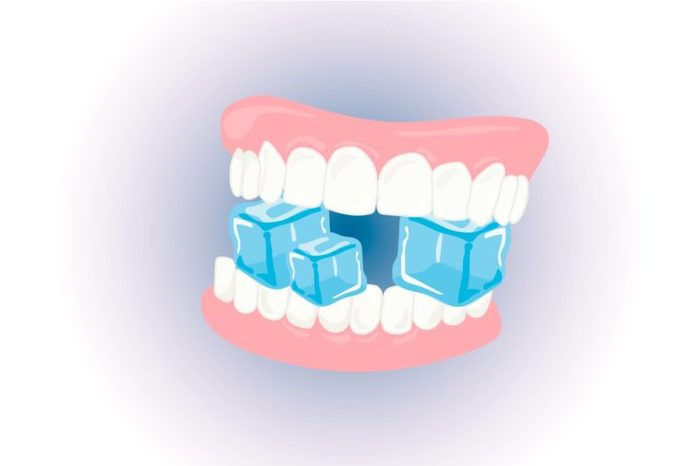 Illustration of teeth biting down on ice cubes.