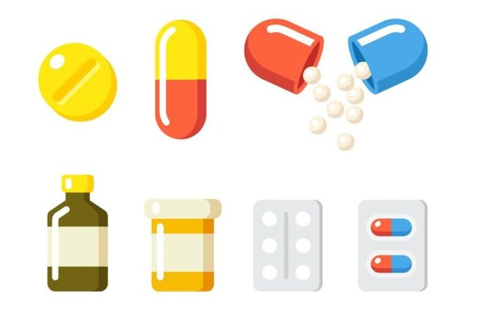 Illustration of medications including pills, capsules and tablets.
