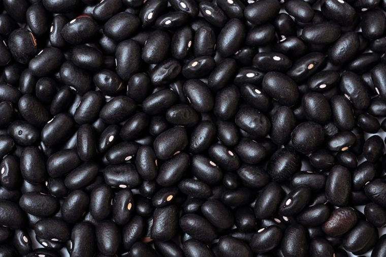 closeup of dried black beans
