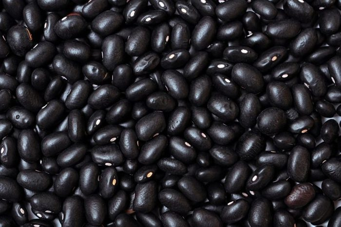 closeup of dried black beans