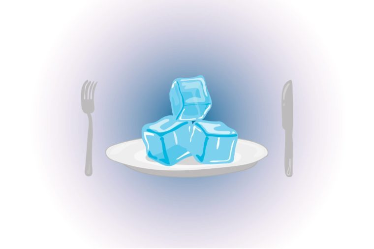 Illustration of ice cubes on a plate.