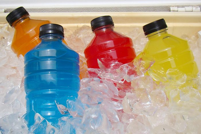 Sports drinks in cooler