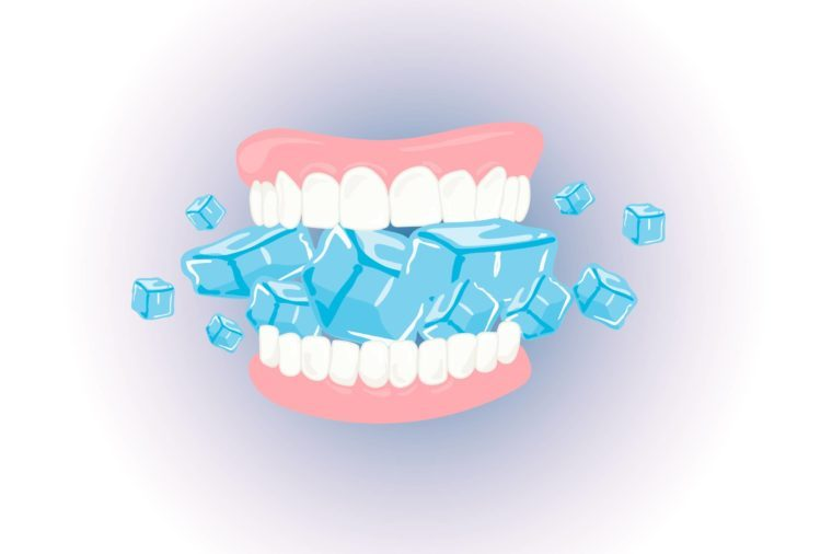 Illustration of teeth chomping down on a lot of ice cubes.