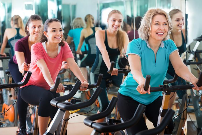 spin class at gym