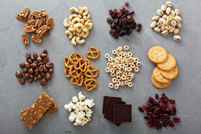 snacks like pretzels, nuts, popcorn