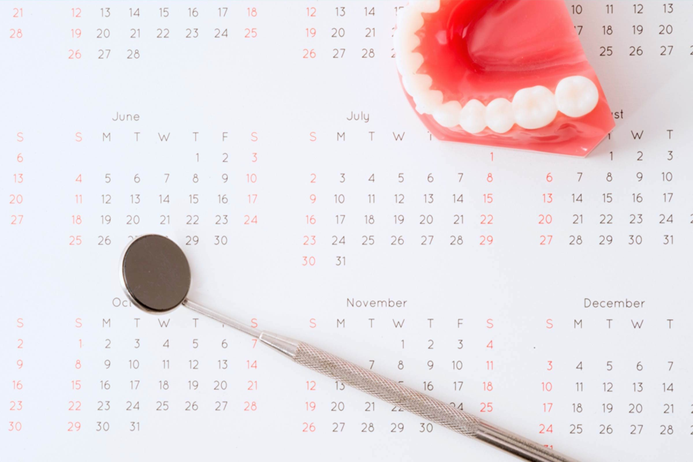 calendar and fake teeth