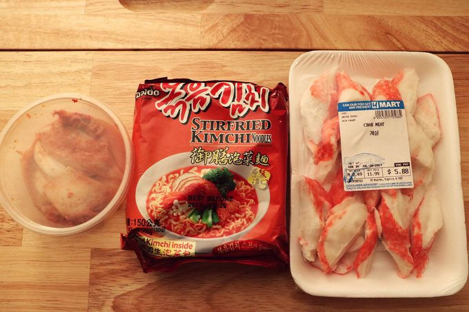Ramen noodle package and package of crabmeat