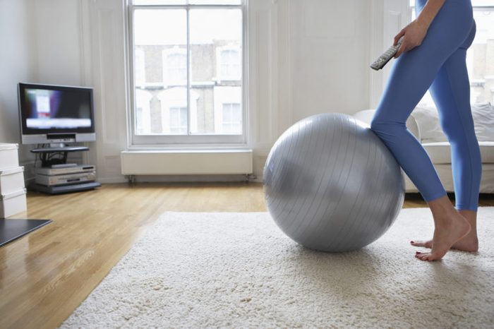 woman exercise tv