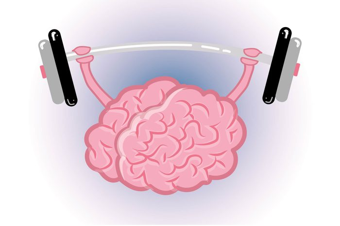 """Graphic of human brain """"lifting weights"""""""