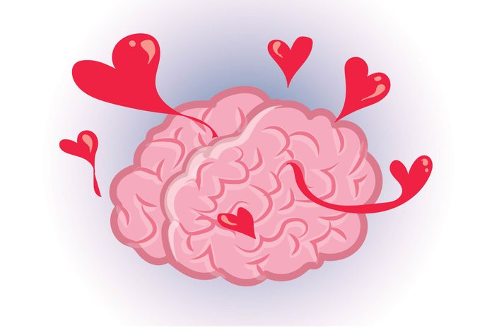 Graphic of human brain with hearts emanating