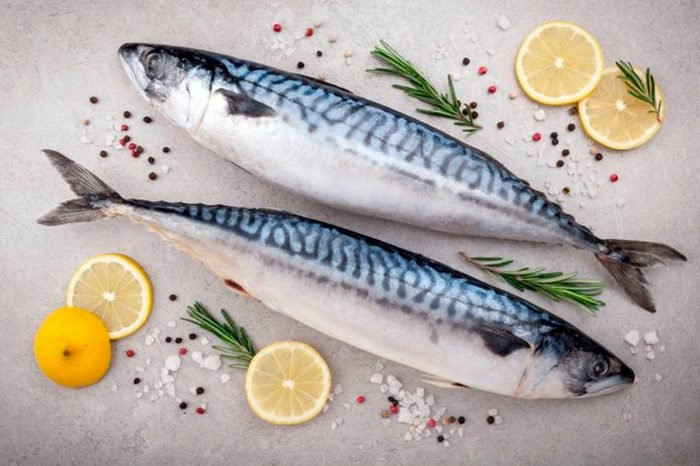 two fish with lemons and rosemary