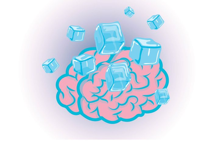 Graphic of human brain with ice cubes
